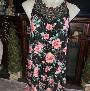 High neck floral dress XL